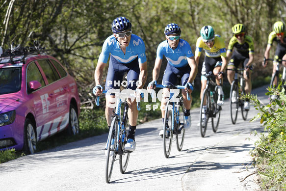 Cycling: Itzulia / Vuelta a País Vasco / Tour Basque Country / Stage 6 / Etapa 6<BR>Bunch / Peloton / LANDA, Mikel (ESP) VERONA, Carlos (ESP) BUCHMANN, Emanuel (GER) NIEVE, Mikel (ESP)  <BR>Eibar - Eibar (118,2 Km)  13-04-2019 / Tour Basque Country / Luis Ange