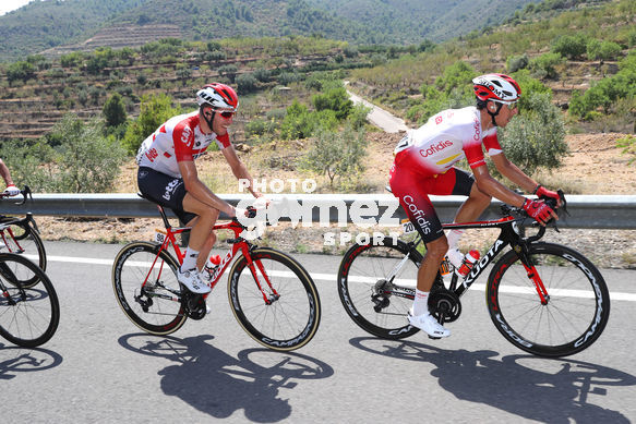 Cycling: Vuelta España 2019 / Tour of Spain 2019/ La Vuelta/ Etapa 7/ Stage 7/ <BR>WALLAYS Jelle (BEL)/ ROSSETTO Stéphane (FRA)<BR>Onda - Mas de la Costa (183,2 km) 30-08-2019/<BR>Vuelta España 2019 / La Vuelta/ Tour of Spain 2019/<BR>Luis Angel Gomez <BR>©PHOTOGOME