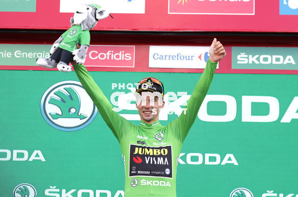 Cycling: Vuelta España 2019 / Tour of Spain 2019/ La Vuelta/ Etapa 11/ Stage 11/ <BR>PODIUM/ CELEBRACIÓN CELEBRATION/ MAILLOT VERDE PUNTOS/ GREEN POINTS JERSEY/ ROGLIC Primoz (SLO)<BR>Saint Palais  - Urdax-Dantxarinea (180 km) 04-09-2019/<BR>Vuelta España 2019