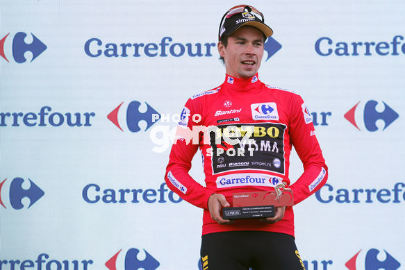 Cycling: Vuelta España 2019 / Tour of Spain 2019/ La Vuelta/ Etapa 11/ Stage 11/ <BR>PODIUM/ CELEBRACIÓN CELEBRATION/ MAILLOT ROJO LÍDER/ RED LEADER JERSEY/ ROGLIC Primoz (SLO)<BR>Saint Palais  - Urdax-Dantxarinea (180 km) 04-09-2019/<BR>Vuelta España 2019 / L