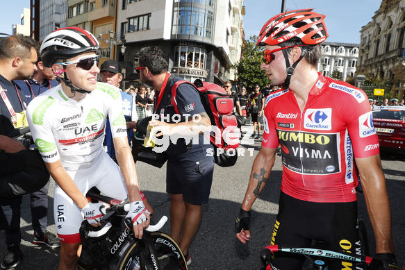 Cycling: Vuelta España 2019 / Tour of Spain 2019/ La Vuelta/ Etapa 14 / Stage 14 / <BR>LLEGADA/ ARRIVAL/ MAILLOT ROJO LÍDER/ RED LEADER JERSEY/ ROGLIC Primoz (SLO)/ MAILLOT BLANCO MEJOR CORREDOR JOVEN/ WHITE BEST YOUNG RIDER JERSEY/ POGACAR Tadej (SLO)<BR>San