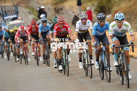 Cycling: Vuelta España 2019 / Tour of Spain 2019/ La Vuelta/ Etapa 20/ Stage 20/ <BR>MAILLOT ROJO LÍDER/ RED LEADER JERSEY// ROGLIC Primoz (SLO)/ QUINTANA Nairo (COL)/ MAILLOT BLANCO MEJOR CORREDOR JOVEN/ WHITE BEST YOUNG RIDER JERSEY/ LOPEZ MORENO Miguel